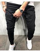ราคาถูก กางเกงผู้ชาย-สำหรับผู้ชาย พื้นฐาน กางเกงวอร์ม กางเกง - สีพื้น ใบไม้สีเขียวที่มีสามแฉก สีดำ XL XXL XXXL