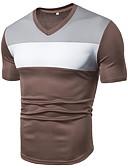 Χαμηλού Κόστους Ανδρικά μπλουζάκια και φανελάκια-Ανδρικά Μέγεθος EU / US T-shirt Αθλητικά Βασικό Μονόχρωμο / Συνδυασμός Χρωμάτων Λαιμόκοψη V Patchwork Μαύρο / Κοντομάνικο