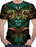 billiga T-shirts och brottarlinnen till herrar-Tryck, 3D Plusstorlekar Bomull T-shirt Herr Rund hals Svart