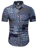 povoljno Muške košulje-Majica Muškarci Karirani uzorak / Etno Slim Navy Plava / Kratkih rukava