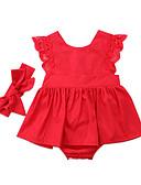 זול סטים של ביגוד לתינוקות-שמלה כותנה ללא שרוולים אחיד פעיל בנות תִינוֹק / פעוטות