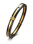 baratos Chapéu Masculino-Homens Bracelete Clássico Alegria Estiloso Aço Titânio Pulseira de jóias Dourado Para Festa Diário