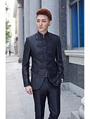 povoljno Odijela-Crno Jednobojni / Prugasti uzorak Standardni kroj Pamuk / Poliester Odijelo - Mandarin Droit à plusieurs boutons / odijela
