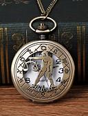 billige Quartz horlogesQuartz-Herre Lommeklokke Quartz Bronse Hul Inngravering Hverdagsklokke Stor urskive Analog Mote Skjelett - Bronse