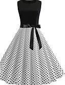 baratos Vestidos de Mulher-Mulheres Básico Evasê Vestido - Estampado, Poá Médio
