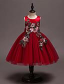 זול שמלות לילדות פרחים-נסיכה מעל הברך שמלה לנערת הפרחים  - סאטן / טול ללא שרוולים עם תכשיטים עם פפיון(ים) / ריקמה על ידי LAN TING Express