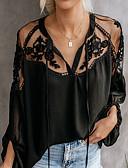 ราคาถูก เสื้อผู้หญิง-สำหรับผู้หญิง เชิร์ต ลูกไม้ คอวี หลวม สีพื้น ขาว