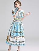 Χαμηλού Κόστους Print Dresses-Γυναικεία Γραμμή Α Φόρεμα - Γεωμετρικό, Στάμπα Μίντι
