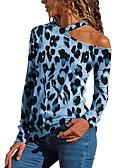 Χαμηλού Κόστους Women's Tanks & Camisoles-Γυναικεία T-shirt Λεοπάρ Στάμπα / Ένας Ώμος Ρουμπίνι / Άνοιξη / Καλοκαίρι / Φθινόπωρο / Χειμώνας