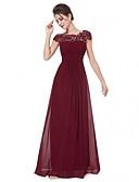 billiga Aftonklänningar-A-linje Båthals Golvlång Chiffong / Spets Elegant & Lyxig / Elegant Formell kväll / Helgdag Klänning 2020 med Veckad / Spetsinlägg