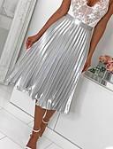 ราคาถูก กระโปรงผู้หญิง-สำหรับผู้หญิง รูปตัว เอ กระโปรง - สีพื้น รอยจีบ สีเงิน สีแดงชมพู M L XL