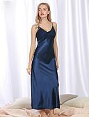 ราคาถูก เสื้อคลุมและชุดนอน-สำหรับผู้หญิง ลูกไม้ / โบว์ / แยก ซูเปอร์เซ็กซี่ ชุดคลุมนอน / ซาตินและผ้าไหม เสื้อนอน สีพื้น สีดำ สีแดงชมพู ตะพุ่น M L XL / คอวี