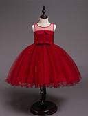 זול שמלות לילדות פרחים-נסיכה באורך  הברך שמלה לנערת הפרחים  - כותנה / סאטן / טול ללא שרוולים עם תכשיטים עם חרוזים / פרטים מקריסטל / חגורה על ידי LAN TING Express