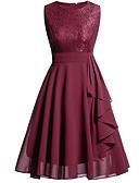 Χαμηλού Κόστους Γυναικεία Φορέματα-Γραμμή Α Λαιμόκοψη V Μέχρι το γόνατο Σιφόν / Δαντέλα Κομψό / Εμπνευσμένο από Βίντατζ Καλωσόρισμα / Χοροεσπερίδα Φόρεμα 2020 με Με διαδοχικές σούρες / Εισαγωγή δαντέλας