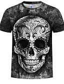 ราคาถูก เสื้อยืดและเสื้อกล้ามผู้ชาย-สำหรับผู้ชาย ขนาดพิเศษ เสื้อเชิร์ต ฝ้าย ลายพิมพ์ คอกลม 3D / กระโหลก สีดำ