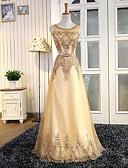 ราคาถูก Special Occasion Dresses-A-line อัญมณี ลากพื้น Tulle / เลื่อม สไตล์วินเทจ ทางการ แต่งตัว กับ เลื่อม / ริบบิ้น โดย LAN TING Express