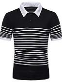 ราคาถูก เสื้อโปโลสำหรับผู้ชาย-สำหรับผู้ชาย ขนาดของยุโรป / อเมริกา Polo คอเสื้อเชิ้ต ลายแถบ ขาว