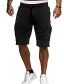 ราคาถูก กางเกงผู้ชาย-สำหรับผู้ชาย พื้นฐาน กางเกงขาสั้น กางเกง - สีพื้น สีดำ ขาว ทับทิม M L XL