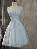 ราคาถูก Special Occasion Dresses-A-line คอวี เสมอเข่า Tulle เพื่อนเจ้าสาวชุด กับ เข็มกลัด โดย LAN TING Express