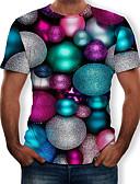 זול טישרטים לגופיות לגברים-מנוקד / 3D צווארון עגול טישרט - בגדי ריקוד גברים דפוס קשת