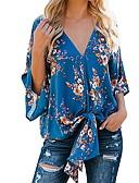ราคาถูก เสื้อผู้หญิง-สำหรับผู้หญิง เสื้อสตรี คอวี หลวม ลายดอกไม้ ทับทิม
