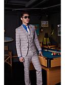 billige Dresser-Aske Stripet Standard Bomull / Polyester Dress - Med hakk Enkelt Brystet To-knapp / drakter