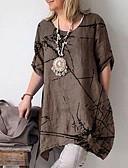 baratos Camisas Femininas-Mulheres Camiseta Frufru, Gráfico Marron / Primavera / Verão / Outono / Inverno