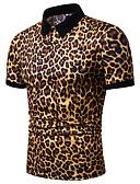 povoljno Muške polo majice-Veličina EU / SAD Polo Muškarci - Osnovni Kauzalni Leopard Kragna košulje Print Plava / Kratkih rukava