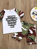 זול לבנים סטים של ביגוד לתינוקות-סט של בגדים כותנה ללא שרוולים דפוס דפוס בסיסי בנים תִינוֹק / פעוטות