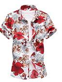ราคาถูก เสื้อเชิ้ตผู้ชาย-สำหรับผู้ชาย ขนาดพิเศษ เชิร์ต เพรียวบาง ลายดอกไม้ สีน้ำเงิน / แขนสั้น