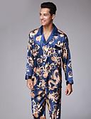 ราคาถูก ชุดนอน&ชุดคลุมอาบน้ำสำหรับผู้ชาย-สำหรับผู้ชาย คอเสื้อเชิ้ต ชุด ชุดนอน ลายบล็อคสี