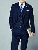 ราคาถูก เบลเซอร์ &สูทผู้ชาย-สำหรับผู้ชาย ขนาดพิเศษ ชุด, สีพื้น คอเสื้อเชิ้ต เส้นใยสังเคราะห์ สีน้ำเงิน