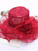 ราคาถูก หมวกสตรี-สำหรับผู้หญิง Kentucky Derby สีพื้น ลูกไม้ ปาร์ตี้-ดวงอาทิตย์หมวก สีเทา ไวน์ สีกากี