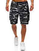 ราคาถูก กางเกงผู้ชาย-สำหรับผู้ชาย พื้นฐาน / Street Chic / Military ขนาดของยุโรป / อเมริกา กางเกง Chinos / กางเกงขาสั้น กางเกง - ลายพิมพ์ / อำพราง Black, คลาสสิค สีเทา L XL XXL / สายผูก