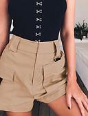 ราคาถูก กางเกงผู้หญิง-สำหรับผู้หญิง Sporty กางเกงขาสั้น กางเกง - สีพื้น เอวสูง ขาว สีดำ สีกากี L XL XXL