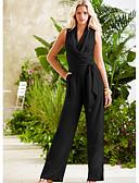 abordables Combinaisons Femme-Femme Noir Ample Mince Combinaison-pantalon, Couleur Pleine Mousseline de Soie M L XL Printemps Eté Automne