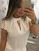 billige Skjorter til damer-Tynn Høy krage Bluse Dame - Ensfarget, Blonde / Lapper Svart