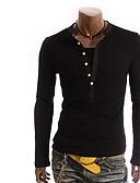 ราคาถูก เสื้อยืดและเสื้อกล้ามผู้ชาย-สำหรับผู้ชาย เสื้อเชิร์ต คอกลม เพรียวบาง สีพื้น เทาเข้ม