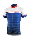 ราคาถูก เคสสำหรับโทรศัพท์มือถือ-BERGRISAR สำหรับผู้ชาย แขนสั้น Cycling Jersey สีฟ้า+สีขาว จักรยาน เสื้อยืด Tops ขี่จักรยานปีนเขา Road Cycling ระบายอากาศ แห้งเร็ว แถบสะท้อนแสง กีฬา polyster เสื้อผ้าถัก / ผสมยางยืดไมโคร / ไตรกีฬา