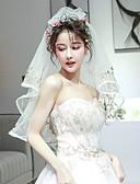 ราคาถูก ม่านสำหรับงานแต่งงาน-Two-tier คลาสสิกและถาวร ผ้าคลุมหน้าชุดแต่งงาน ผ้าคลุมศรีษะสำหรับชุดแต่งงาน กับ เข็มกลัด Tulle