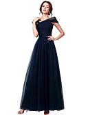 ราคาถูก Special Occasion Dresses-A-line คอซอง ลากพื้น Tulle แต่งตัว กับ ริบบิ้น / จับจีบ โดย JUDY&JULIA