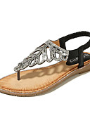 ราคาถูก เสื้อเอวลอยสำหรับผู้หญิง-สำหรับผู้หญิง PU ฤดูร้อน หวาน รองเท้าแตะ ส้นแบน เปิดนิ้ว หินประกาย สีทอง / สีดำ / สีชมพู