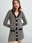 ราคาถูก Special Occasion Dresses-สำหรับผู้ชาย ทำงาน ขนาดของยุโรป / อเมริกา ปกติ เสื้อโค้ท, Houndstooth คอวี แขนยาว เส้นใยสังเคราะห์ สีกากี / เพรียวบาง