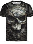 baratos Camisetas & Regatas Masculinas-Homens Camiseta Estampado, 3D / Caveiras / camuflagem Algodão Decote Redondo Verde Tropa