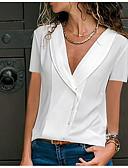 ราคาถูก เสื้อเชิ้ตสำหรับสุภาพสตรี-สำหรับผู้หญิง ขนาดพิเศษ เชิร์ต คอวี สีพื้น สีดำ