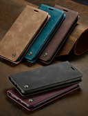 billige Samsung-tilbehør-caseme case magnetisk flip wallet telefon tilfeller retro solid farget hardt kort kortspor med stativ for iphone x / xs maks / xr / 7/8 pluss / 6 / 6s pluss / 5 / 5s / se