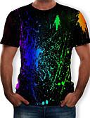 billige T-skjorter og singleter til herrer-Rund hals T-skjorte Herre - Regnbue, Trykt mønster Svart
