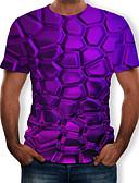 billige T-skjorter og singleter til herrer-Rund hals T-skjorte Herre - 3D, Trykt mønster Lilla / Kortermet