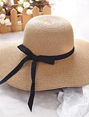 ราคาถูก หมวกสตรี-สำหรับผู้หญิง สีพื้น Straw ซึ่งทำงานอยู่ พื้นฐาน สไตล์น่ารัก-หมวกสาน ดวงอาทิตย์หมวก ทุกฤดู ขาว ผ้าขนสัตว์สีธรรมชาติ สีกากี