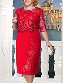 Χαμηλού Κόστους Print Dresses-Γυναικεία Μεγάλα Μεγέθη Πάρτι Για τη μητέρα Δαντέλα Σε γραμμή Α Φόρεμα - Μονόχρωμο, Δαντέλα Μίντι